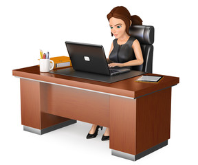 3D Business woman working at office with a laptop