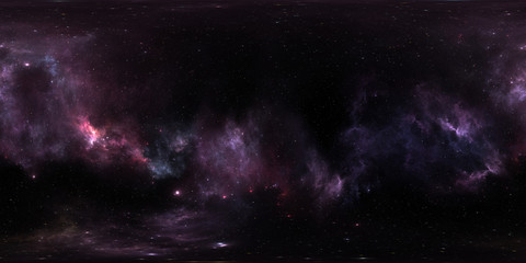 Space background with purple nebula and stars. Panorama, environment 360 HDRI map. Equirectangular projection, spherical panorama. 3d illustration Wall mural