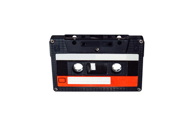 Audio cassette. Vintage audio cassette tap on white background. Old cassette tape audio isolated on white.