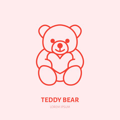 Teddy bear illustration. Plush flat line icon, toy store logo. Valentines day present sign.