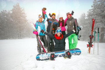 cheerful of group of friends have a good time in winter