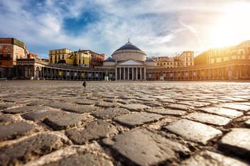 Garden Poster Napels Piazza del Plebiscito, Napoli, Italy. Travel destination concept