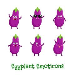 Eggplant smiles. Cute cartoon emoticons. Emoji icons