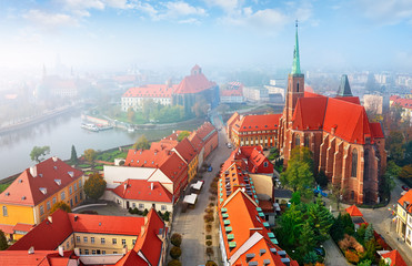 Wroclaw city in Poland top view to sanctuary church with high Wall mural