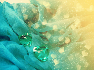 crystal two gem hearts valentine's day love holiday concept background