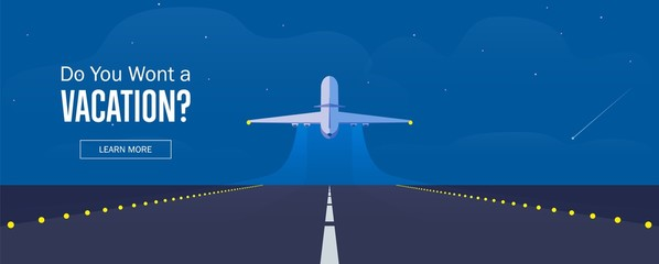Airplane in the sky, runway and take-off plane. Banner or flyer for travel and vacation design. Starry night sky. Vector illustration.