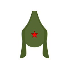 Budenovka retro cap Russian communist soldier isolated. Vintage hat Russian military. Vector illustration