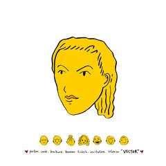 인물의 얼굴 / 손으로 그린 얼굴 표정 일러스트