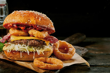 Gourmet Surf and Turf burger with squid rings