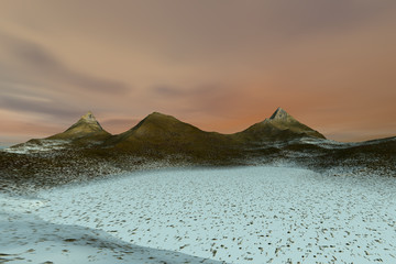 Snow in the desert, a rocky landscape, beautiful peaks and a colorful sky.