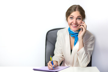 young beautiful business woman working in office receive good news