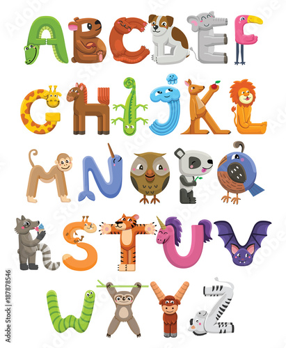 Zoo alphabet  Animal alphabet  Letters from A to Z  Cartoon