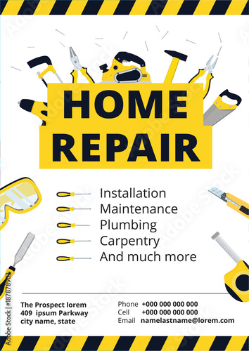 home improvement poster or flyer with repair tools house