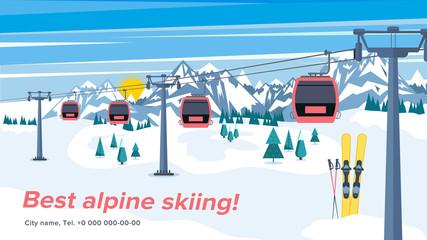 Colorful mountain ski resort background illustration. Bright layout with lift or gondola on winter alpine landscape.