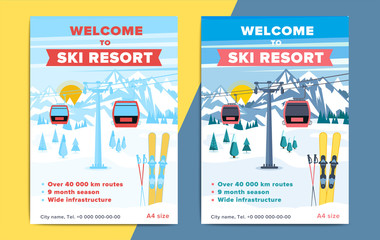 Colorful mountain ski resort background illustration. Bright layout with lift or gondola on winter alpine landscape for poster, flyer, banner.