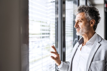 Portrait of confident mature businessman loooking out of window