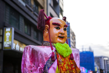 Chinese New Year, folk beliefs in Taiwan, the Lantern Festival temple parade, a huge god even,