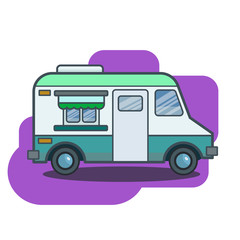 Cute retro food truck illustration in flat cartoon vector style.