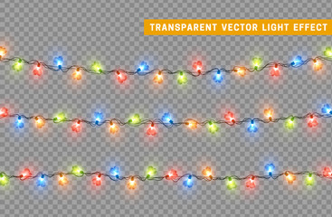 Decorations string garlands, colorful lights in shape of heart isolated realistic design elements. Vector Led neon lamps