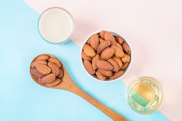 Almonds seed with milk and oil almond.