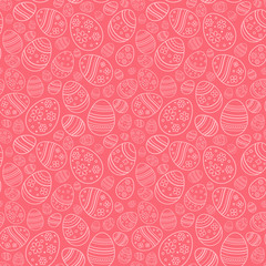 Vector seamless simple pattern with ornamental eggs. Easter holiday pink background for printing on fabric, paper for scrapbooking, gift wrap and wallpapers.