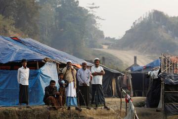 Rohingya refugees are seen in a refugee camp at no-man's land at the Bangladesh-Myanmar border, in Cox's Bazar, Bangladesh