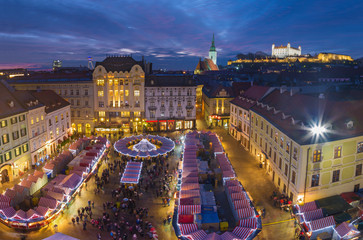 Bratislava - Christmas market on the Main square in evening dusk.