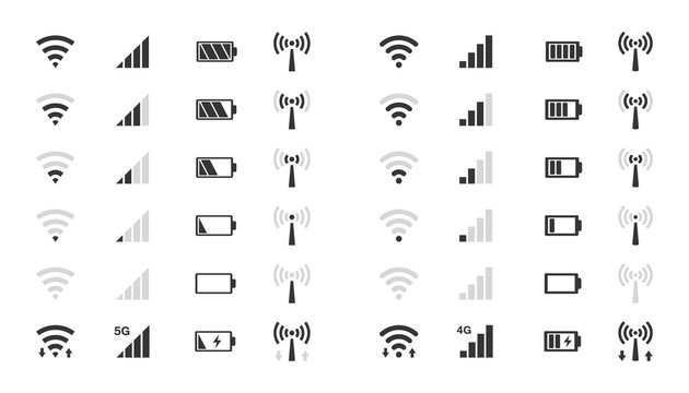 wifi level icons, signal strength indicator, battery charge