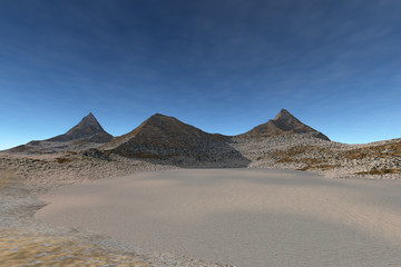 Daylight in the desert, a martian landscape, rocks, stones and a blue sky.