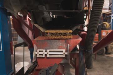 Grains being refined in grain elevator