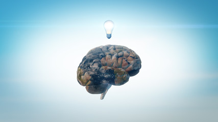3D Illustration Brain image with Earth texture and lightbulb above