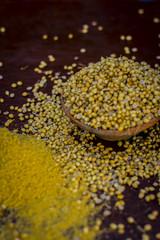 Close up of spice coriander seeds,Coriandrum sativum in a traditional basket.