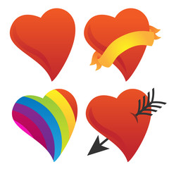Cute Sweetheart, Cupid Heart, Valentine Heart, Rainbow Heart Vector Group