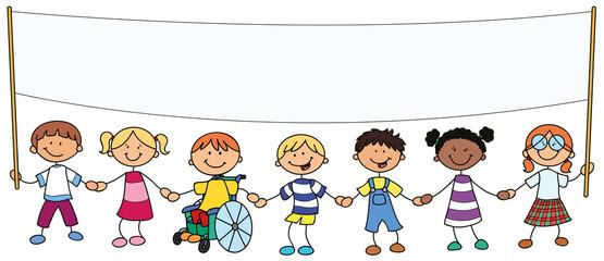7 Kinder mit Banner - Vektor-Illustration