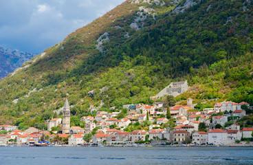 Beautiful view from sea to resort town of Perast, Kotor Bay, Montenegro