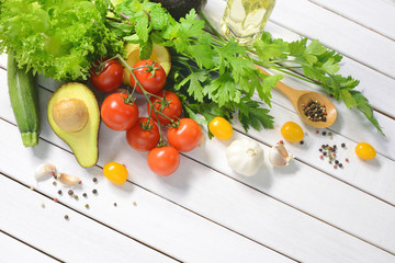 Healthy food,Vegetables and fruits on white wooden table