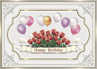 Happy Birthday. Greeting card with a bouquet of roses and balloons