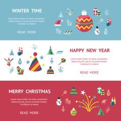 Digital vector christmas and new year holidays set