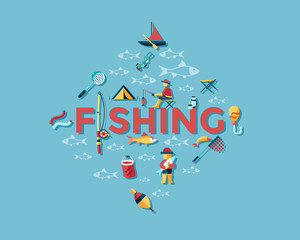 Digital vector fishing activity set collection