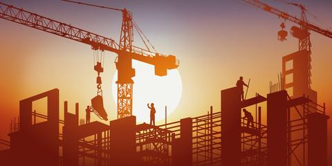 chantier - BTP - grue - construction - bâtiment - construire - ouvrier - béton - concept - travaux publics,