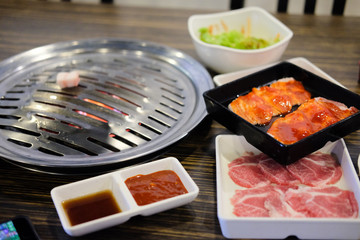 Grilling pork Korean barbecue style
