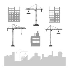 Collection of construction cranes and buildings under construction for decorating.
