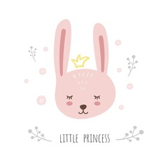 Little princess. Cute Bunny, sweet animal vector. Illustration for greeting cards or children's design.