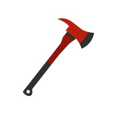 Red firefighter axe icon, flat style