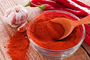Ground red pepper and spices on an old board