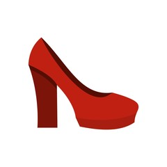 Red high heel shoes icon, flat style