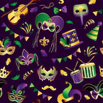 Mardi Gras. Seamless pattern. Template with Golden Carnival Masks on Background. Glittering Celebration Festive. Vector Illustration.