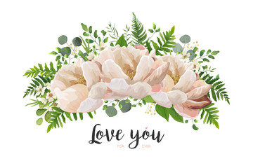 Flower Bouquet vector design element. Peach, pink rose peony, wax flowers eucalyptus, green fern leaf, berry herbs. Lovely floral card elegant template with text space. All elements isolated, editable