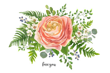 Flower Bouquet vector watercolor element. Peach, pink rose Ranunculus, wax flowers eucalyptus, green fern leaf, berry mix. Greeting, lovely floral elegant invite card. All elements isolated & editable