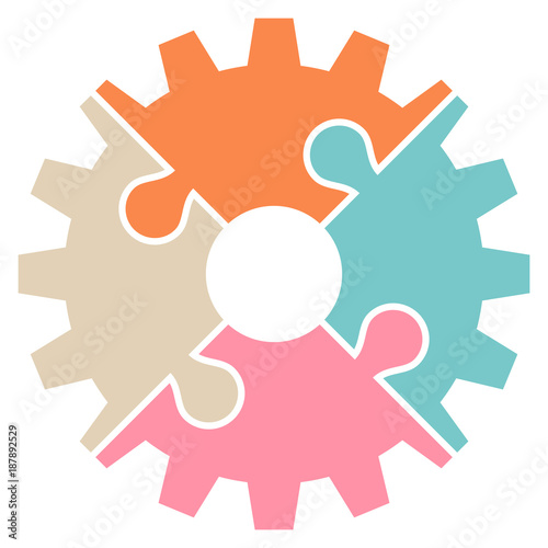 Gear Puzzle Graphic Retro Turn